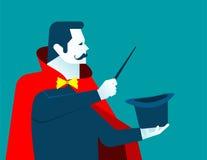 Homme de magicien avec la baguette magique et le chapeau Photographie stock libre de droits