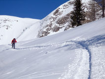Homme de marche dans la neige Images libres de droits