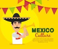Homme de mariachi avec la bannière de trompette et de partie illustration de vecteur