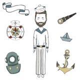 Homme de mer, hommes de capitaine, illustration de dessin de marin de bateau de ruban de regard d'ancor de vecteur de clipart (im illustration libre de droits