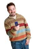 Homme de message avec texte Photo stock