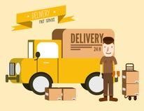 Homme de messager de la livraison postale devant le fourgon de cargaison Image stock