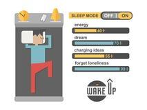 Homme de mode de sommeil dans le vecteur de remplissage de téléphone de concept Image stock