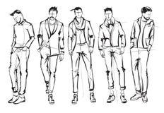 Homme de mode Ensemble de croquis à la mode du ` s d'hommes Photos libres de droits