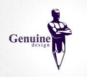 Homme de muscle d'homme fort combiné avec le crayon dans un symbole, concept de construction fort, allégorie créative de puissanc illustration libre de droits
