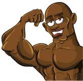 Homme de muscle de dessin animé fléchissant son bicep Images libres de droits