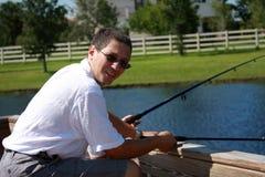 Homme de pêche Image stock