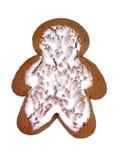 Homme de pain d'épice en fonction d'isolement sur le blanc Photographie stock libre de droits