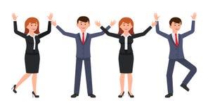 Homme de patron et personnage de dessin animé très heureux de femme Dirigez l'illustration du commis féminin d'american national  Images libres de droits