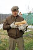 Homme de pays avec le bois de chauffage image stock