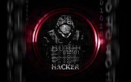 Homme de pirate informatique dans le hoodie avec l'ordinateur portable plat illustration de vecteur