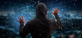Homme de pirate informatique tenant le rendu binaire du nuage 3d de données Photo stock