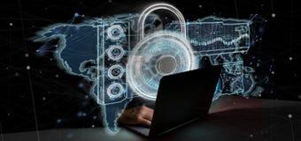 Homme de pirate informatique tenant un rendu du concept 3d de sécurité de Web de cadenas Photo libre de droits