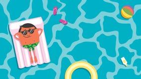 Homme de piscine d'été illustration libre de droits