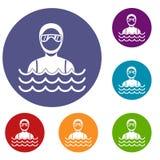 Homme de plongeur autonome dans des icônes de costume de plongée réglées illustration libre de droits