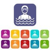 Homme de plongeur autonome dans des icônes de costume de plongée réglées illustration de vecteur