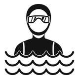 Homme de plongeur autonome dans l'icône de costume de plongée, style simple illustration stock
