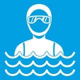 Homme de plongeur autonome dans le blanc d'icône de costume de plongée illustration stock