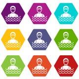 Homme de plongeur autonome dans le hexahedron réglé de couleur d'icône de costume de plongée illustration libre de droits