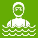 Homme de plongeur autonome en vert d'icône de costume de plongée illustration libre de droits