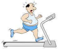 Homme de poids excessif pulsant sur un tapis roulant Image stock
