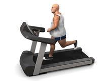 Homme de poids excessif sur le tapis roulant Photos stock