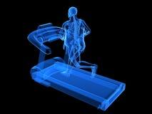 Homme de poids excessif sur le tapis roulant Image libre de droits