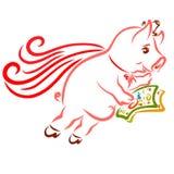 Homme de porc et super héros riche, banquier ou sponsor, porc volant illustration libre de droits