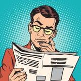 Homme de portrait d'avatar lisant un journal illustration stock