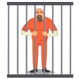 Homme de prisonnier dans le vecteur de Pokey Voleur proscrit arrêté et verrouillé Illustration de personnage de dessin animé Images libres de droits