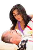 Homme de ronflement et épouse perturbée Image stock