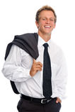Homme de sourire avec le procès d'affaires dans le studio Image stock