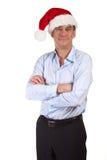 Homme de sourire bel dans le chapeau de Santa Image libre de droits