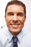 Homme de sourire d'affaires à la ride Image stock