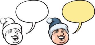 Homme de sourire de bande dessinée dans le visage de chapeau d'hiver Photo libre de droits