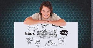Homme de sourire se penchant sur le panneau d'affichage avec des icônes d'affaires et de media illustration de vecteur