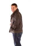Homme de sourire sur un fond blanc Photo libre de droits