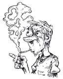 Homme de tabagisme en noir et blanc Image libre de droits