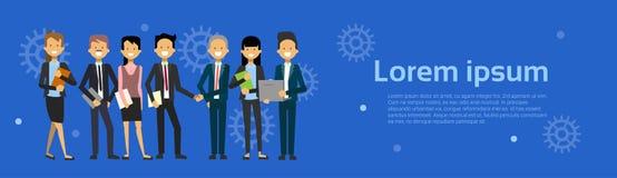 Homme de Team Of Modern Businesspeople Business et bande dessinée de femme se tenant au-dessus du fond avec la bannière horizonta illustration de vecteur