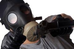 Homme de terroriste dirigeant des canons photographie stock