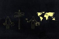 Homme de travail ou de vacances avec des objets d'affaires et voyageur illustration libre de droits