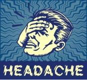 Homme de vintage souffrant l'illustration douloureuse de clipart de vecteur de mal de tête Photo stock