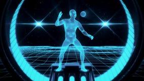 homme de Wireframe de bleu glacier 3D à l'arrière-plan de mouvement de boucle du cyberespace VJ illustration stock