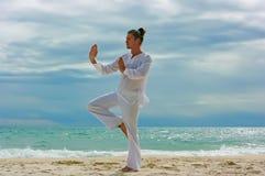 Homme de Wushu sur la plage Image stock