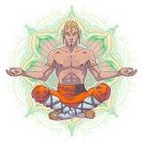 Homme de yoga de vecteur en position de lotus Image libre de droits