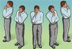 Homme debout réfléchi isométrique Images stock