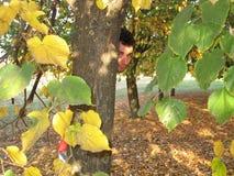 Homme derrière l'arbre Photographie stock