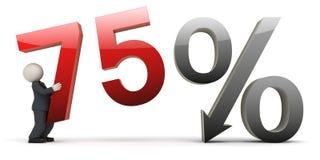 homme des affaires 3d avec le signe de 75 pour cent Image stock