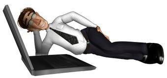 homme des affaires 3d dormant près du dessin animé d'ordinateur portatif Photo stock