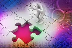 homme des affaires 3d avec le morceau de puzzle Photo stock